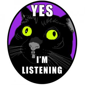 haalarimerkki - kissa (yes I'm listening)